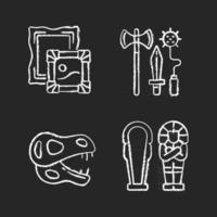 Archaeological excavation chalk white icons set on black background. Paintings. Knight weapons. Dinosaur skeleton. Egyptian sarcophagus. Portraiture. Isolated vector chalkboard illustrations