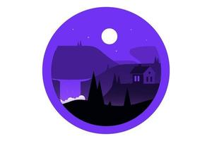 T-Shirt forest hill house purple and black color vector
