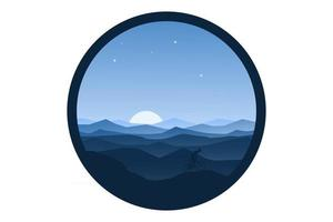 T-shirt mountains landscape lined beautifully in the morning fog vector