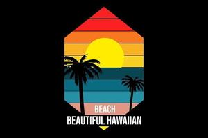 T-shirt Title beautiful hawaiian beach color yellow and blue vector