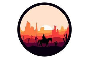 T-shirt cowboy great deserts landscape vector