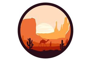 T-shirt desert sandstone mountain color orange and brown vector