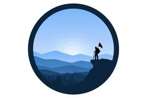 T-shirt climbers carry flags on the hills vector