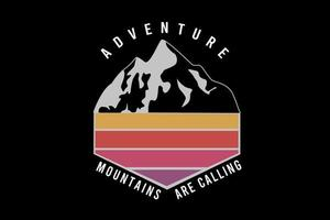 adventure mountains are calling color yellow and red vector