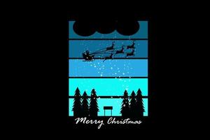 merry christmas color blue and white vector