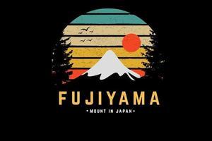fujiyama mount japan color green yellow and orange vector