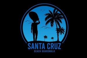 santa cruz beach boardwalk color blue vector