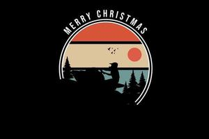 merry christmas color orange light brown and green vector