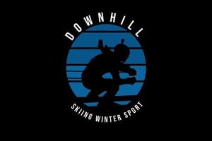 downhill skiing winter sport color blue and black vector