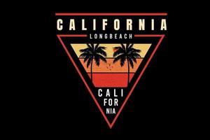 california long beach  color yellow and orange vector