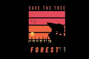 save the tree forest color orange and red vector