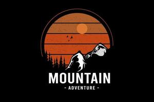 mountain adventure color orange and white vector