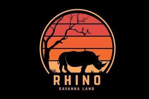 rinoceronte sabana tierra color naranja y amarillo vector