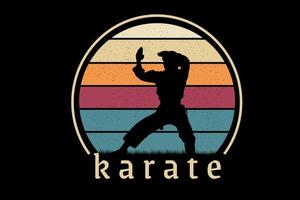 t-shirt karate color yellow orange and green vector