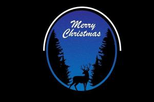 merry christmas color blue and black vector