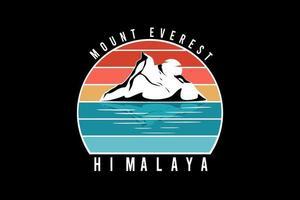 mount everest himalaya color white, orange and blue vector