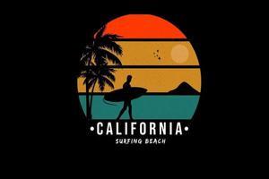 camiseta la playa de surf de california color rojo naranja y verde vector