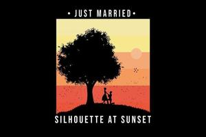 t-shirt just married silhouette at sunset color orange and yellow vector
