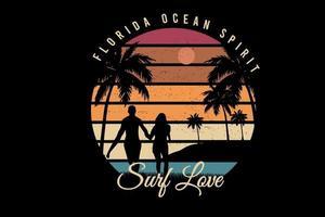 florida océano espíritu surf amor color re naranja y verde vector