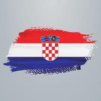 Croatia flag brush vector
