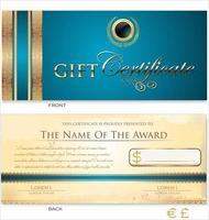 plantilla de certificado de regalo vector