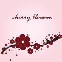 card with cherry blossom vector