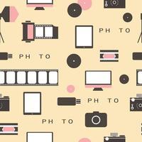Seamless pattern Photo studio logo. Hipster style. vector