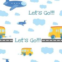 Seamless pattern Cartoon bus on the road vector