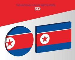 The national 3d flag of north korea vector design