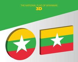 The national 3d flag of myanmar vector design