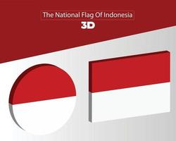The National 3d Flag Of indonesia vector design