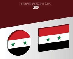 The national 3d flag of syria vector design