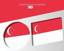 The national 3d flag of singapore vector design