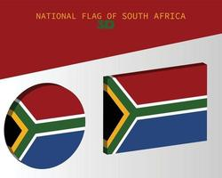 The national 3d flag of south africa vector design