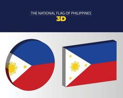 The national 3d flag of philippines vector design