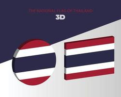 The national 3d flag of thailand vector design