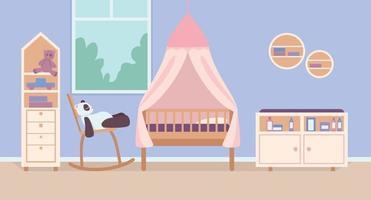 Child bedroom for newborn flat color vector illustration