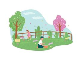 Easter egg hunting 2D vector web banner