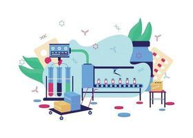 Vaccine development flat concept vector illustration