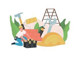 Handyman flat concept vector illustration