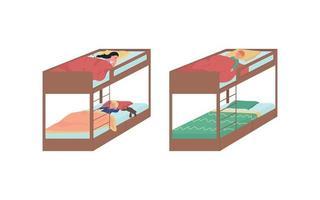 Children sleeping on bunk beds flat color vector faceless character set