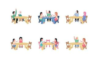 Kindergarten children sitting at table flat color vector faceless characters set