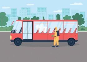 Public transport disinfection flat color vector illustration