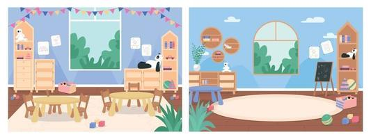Primary school classroom with no people flat color vector illustration set