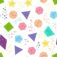 Seamless pattern cute geometric figures for kids. Isolated shapes and color circles on white background for children. vector