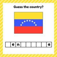 hoja de trabajo sobre geografía para niños en edad preescolar y escolar. crucigrama. bandera de venezuela. Señala el país. vector