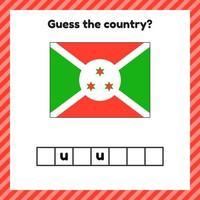 Worksheet on geography for preschool and school kids. Crossword. Burundi flag. Cuess the country. vector