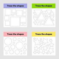 Educational tracing worksheet for kids kindergarten, preschool and school age. Trace the geometric shape. Dashed lines. vector