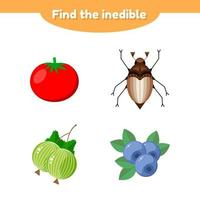 vector illustration. puzzle game for preschool and school age children. find the inedible. tomato, gooseberry, blueberry, beetle