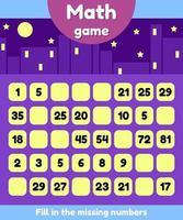 ilustración vectorial. juego de matemáticas para niños en edad preescolar y escolar. llene los números que faltan. encontrar una secuencia. vector